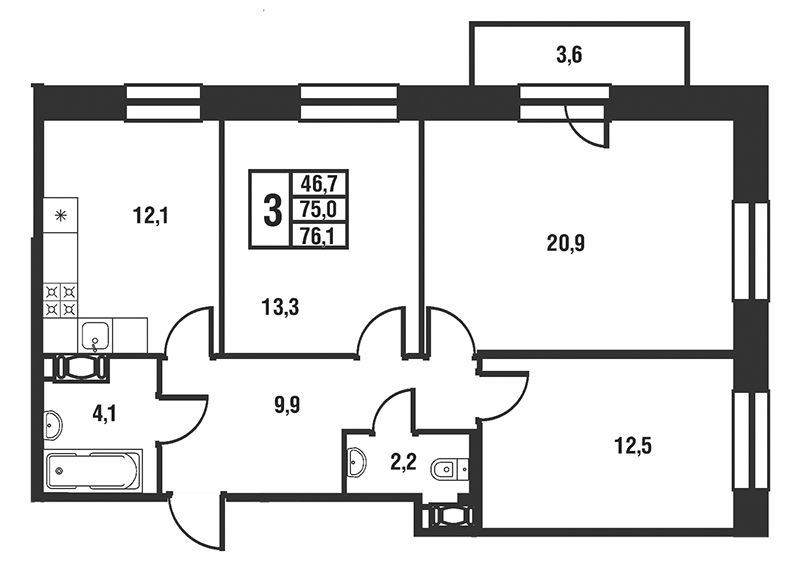 Планировка Трёхкомнатная квартира площадью 76.1 кв.м в ЖК «Новый Оккервиль»