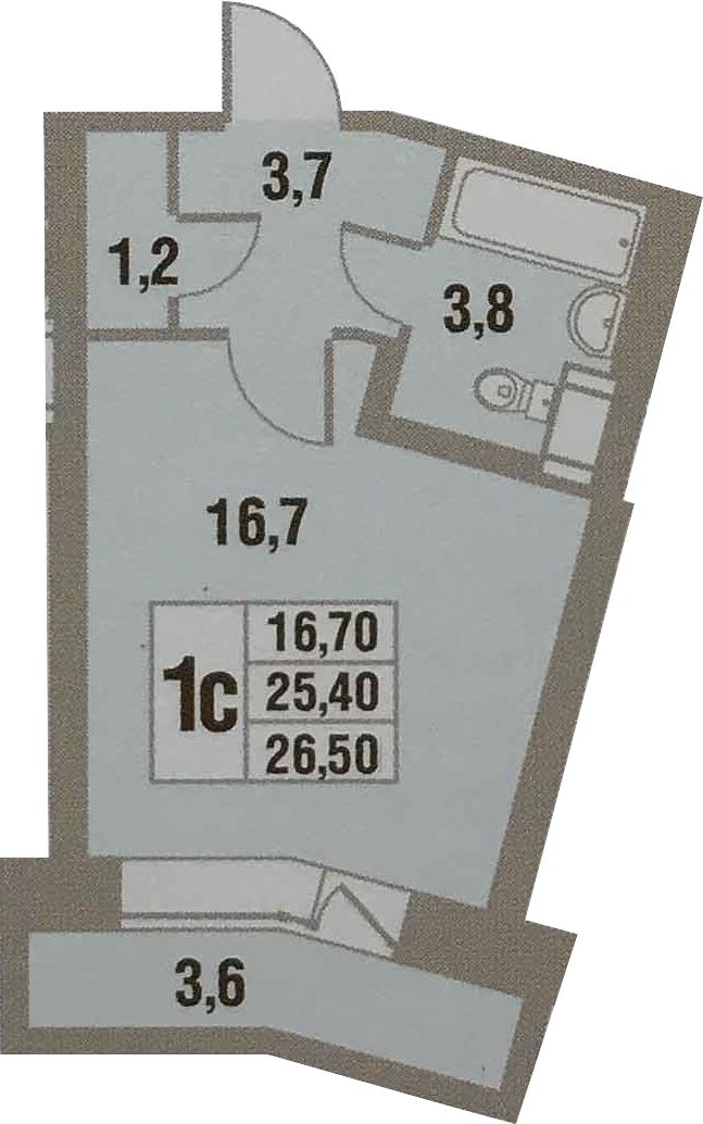 Планировка Студия площадью 29.07 кв.м в ЖК «Новый Оккервиль»
