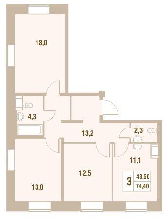 Планировка Трёхкомнатная квартира площадью 74.4 кв.м в ЖК «Новый Оккервиль»