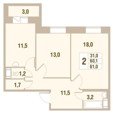 Планировка Двухкомнатная квартира площадью 63.1 кв.м в ЖК «Новый Оккервиль»