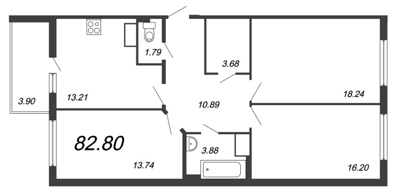 Планировка Трёхкомнатная квартира площадью 82.8 кв.м в ЖК «Новый Оккервиль»