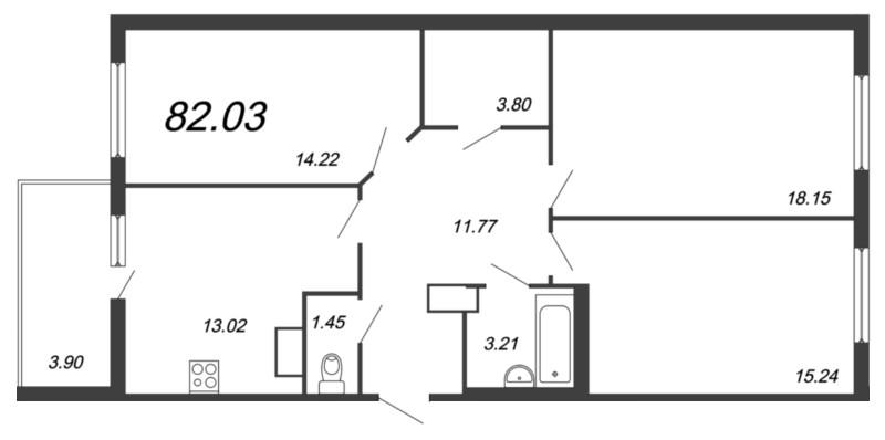 Планировка Трёхкомнатная квартира площадью 82.03 кв.м в ЖК «Новый Оккервиль»
