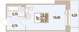 Планировка Студия площадью 31.76 кв.м в ЖК «Новый Оккервиль»
